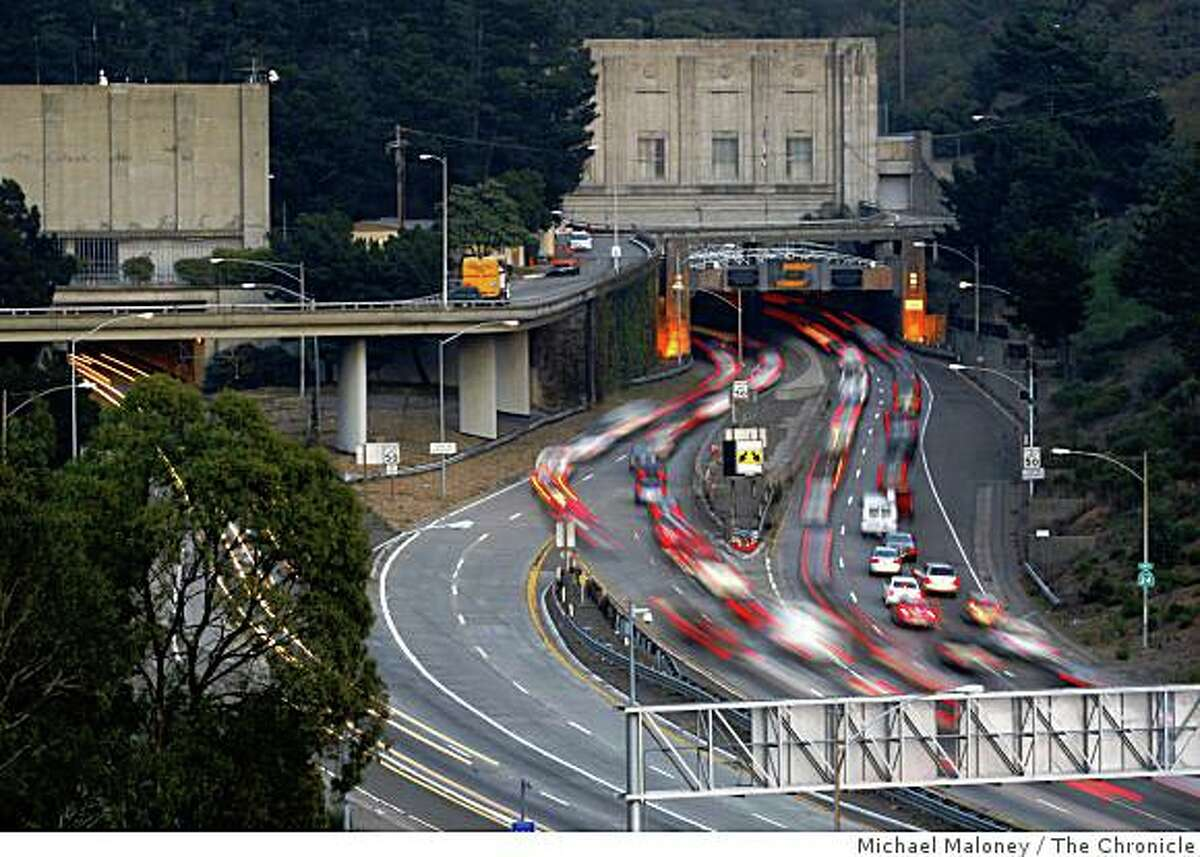 Eastbound traffic uses two of three bores during the Tuesday evening, December 9, 2008 commute. The Caldecott Tunnel's fourth bore project may come to a halt because of the state's budget mess.