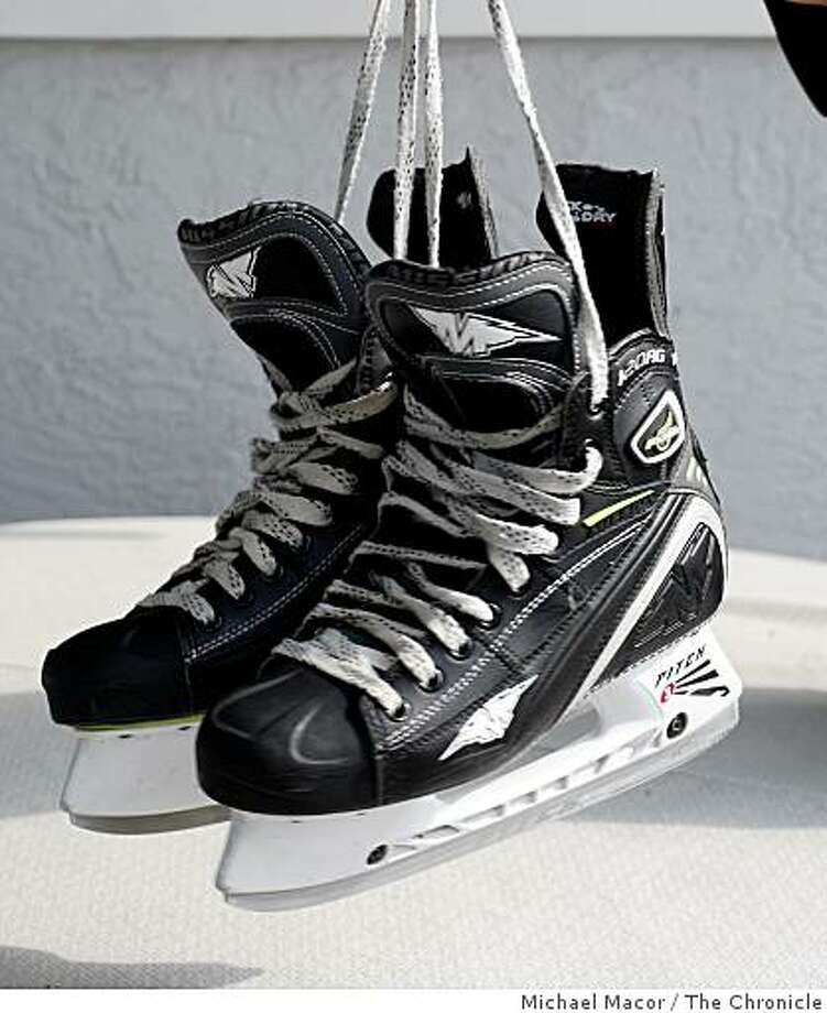 obsession12-02-07_047_mac.jpg OBSESSION- Magazine Standing Feature. Khing's Mission Fuel Ice Skates.Tony Khing, 49, plays ice hockey. Photographed in, Fremont, Ca, on 9/8/07. Photo by: Michael Macor/ The Chronicle Photo: Michael Macor, The Chronicle