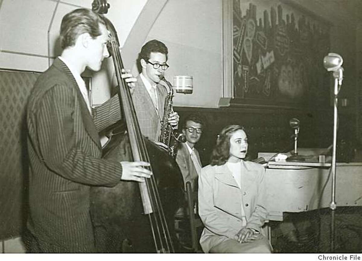 Lynne17.jpg photo taken in 1949 showing Frances Lynne with (l to r) bassist Norman Bates, alto saxophonist Paul Desmond and pianist Dave Brubeck. 949 - Obit photo of Frances Lynne. Dave Brubeck is on piano; Paul Desmind is on alto sax. Dave Brubeck on pianootographer Unknown/Chronicle File