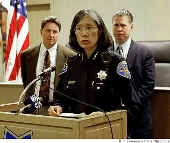 San Francisco, Calif., Police Chief Heather Fong announces at a June 25, 2008 press conference at the San Francisco Hall of Justice the arrest of Edwin Ramos of El Sobrante, Calif. in the homicides of Anthony Bologna and two family members on June 22, 2008 in San Francisco. Chief Fong is flanked by SFPD Inspector Tom Newland, left, and SFPD Inspector Mike Philpott, rightPhoto by Kim Komenich / The Chronicle Photo: Kim Komenich, The Chronicle
