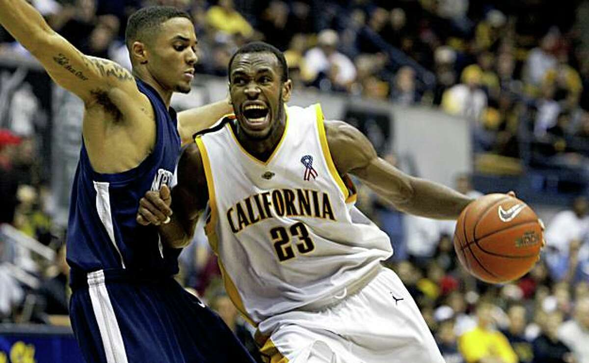 Cal's Patrick Christopher drives to the basket in 4th period action. California defeated Nevada at Reno 75-66 in Berkeley Dec 20, 2008.