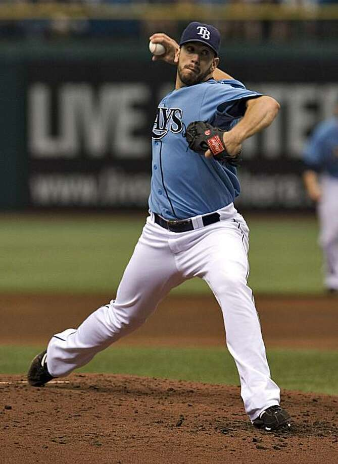 Tampa Bay Rays starter James Shields pitches against the New York Yankees during the third inning of a baseball game Sunday, Aug.1, 2010, in St. Petersburg, Fla. Photo: Steve Nesius, AP