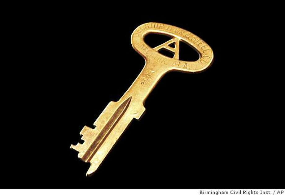 This photo released by the National Constitution Center shows the key belonging to the cell where Dr. Martin Luther King, Jr. was held following the 1963 Birmingham campaigns, where he authored the infamous ?Letter from a Birmingham Jail.?(AP Photo/National Constitution Center,Birmingham Civil Rights Institute) **NO SALES** Photo: Birmingham Civil Rights Inst., AP