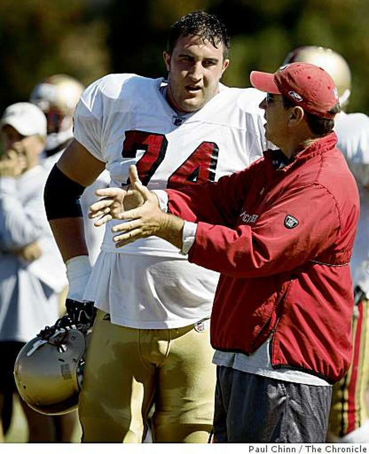 Tackle Joe Staley works with offensive line coach Chris Foerster during the San Francisco 49ers training camp in Santa Clara, Calif., on Thursday, July 31, 2008.Photo by Paul Chinn / The Chronicle Photo: Paul Chinn, The Chronicle