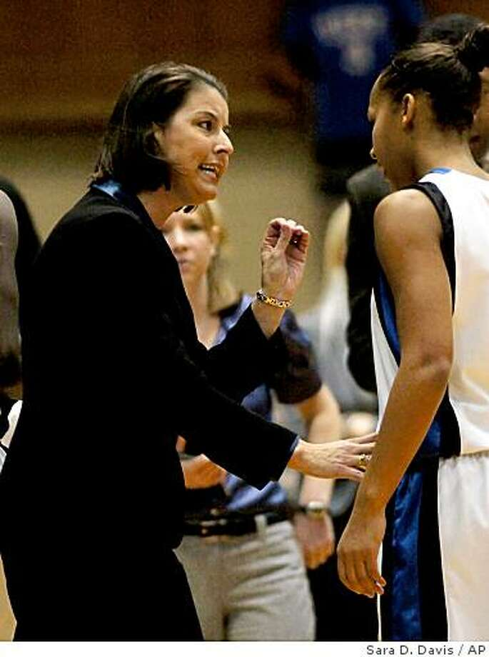 Duke's head coach Joanne P. McCallie talks with Shay Selby in the first half of an NCAA college basketball game against Michigan in Durham, N.C., Sunday, Dec. 7, 2008.  Duke won 60-45 over Michigan. (AP Photo/Sara D. Davis) Photo: Sara D. Davis, AP