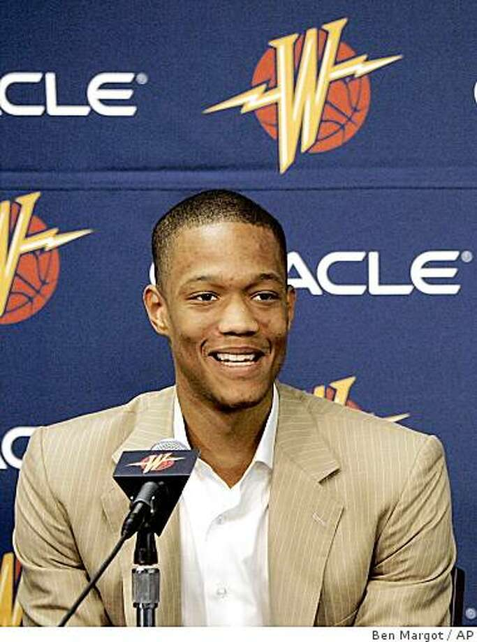 Golden State Warriors 2008 draft picks Anthony Randolph, left, and Richard Hendrix laugh during a media conference Monday, June 30, 2008, in Oakland, Calif. (AP Photo/Ben Margot) Photo: Ben Margot, AP