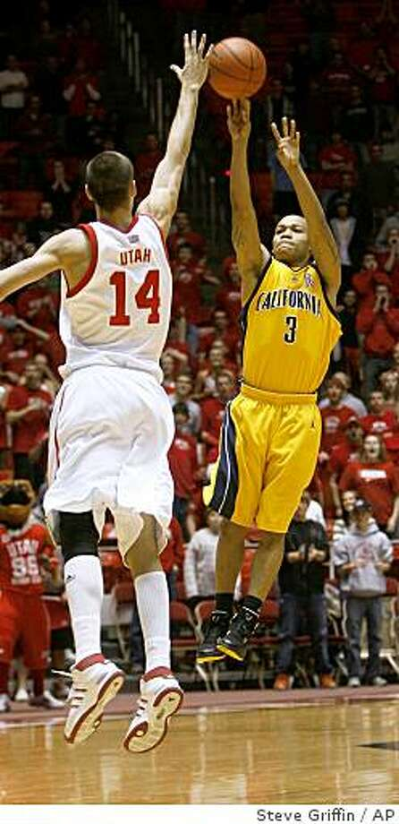 California guard Jerome Randle (3) hits the game-winning shot against Utah forward Kim Tillie (14), of France, during the second half of a game on Wednesday, Dec. 10, 2008, in Salt Lake City.  Randle finished the night with 21 points for the game high. California beat Utah 72-69. Photo: Steve Griffin, AP