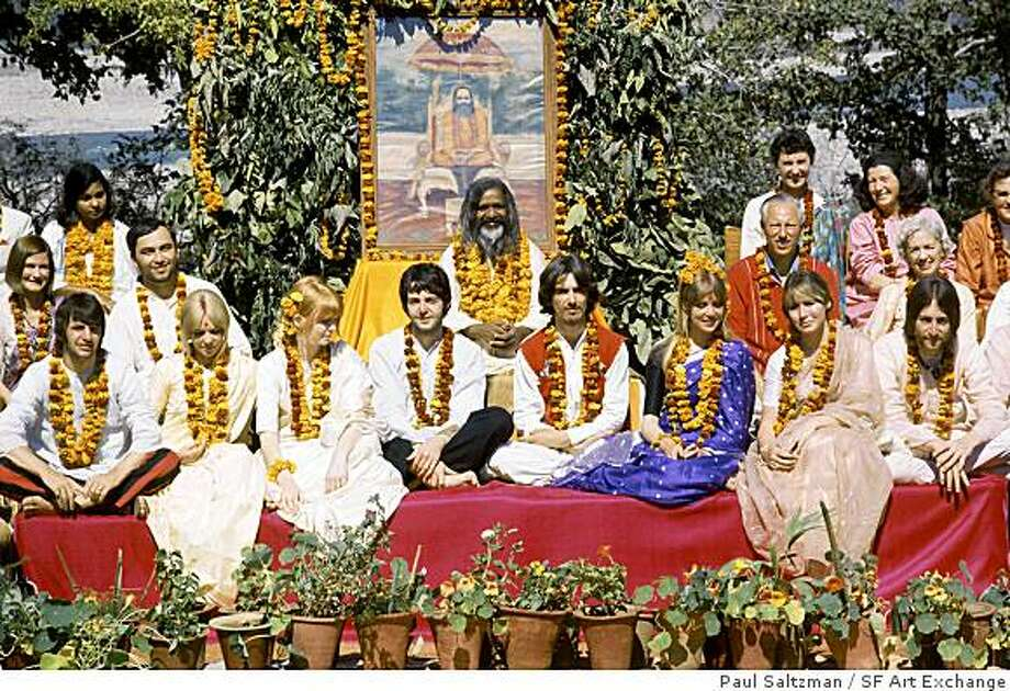 Paul Saltzman photographed this group portrait of  of the Beatles and others with the Maharishi Mahesh Yogi at the Maharishi's ashram near the holy Indian city of Rishikesh in 1968. Photo: Paul Saltzman, SF Art Exchange