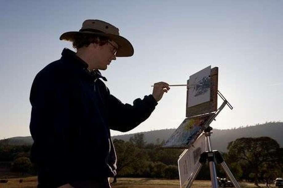 Bryan Mark Taylor painting at Trabucco Ranch. Photo: Michael Frye