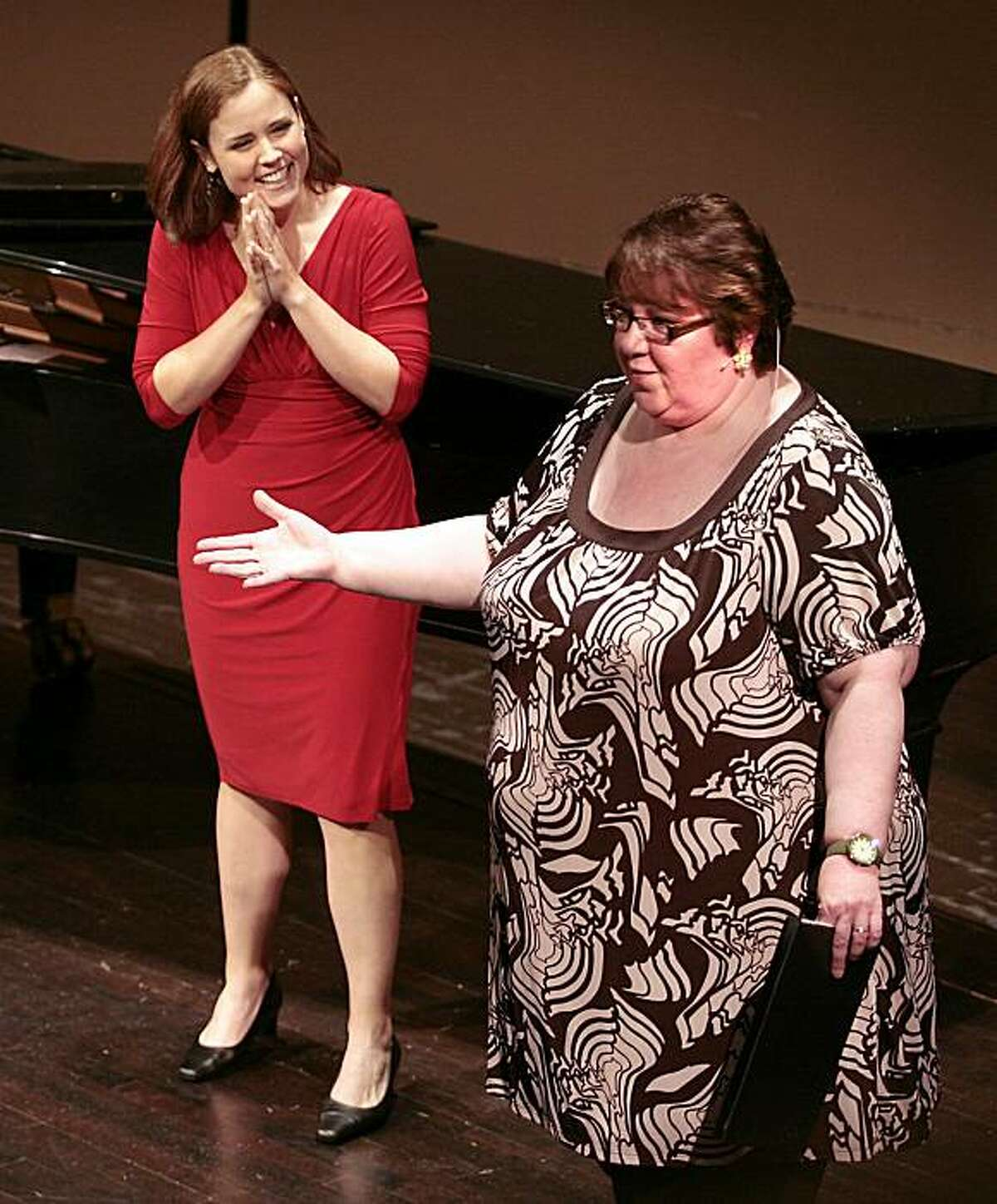 Singer Robin Flynn works with Jane Eaglen in a master class at the Merola Opera program at the Herbst Theatre in San Francisco on Thursday, July 8th, 2010.