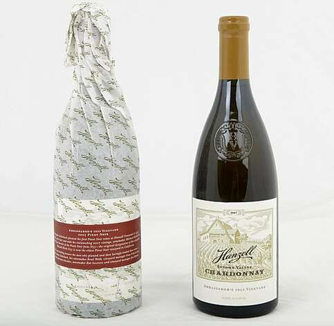 Bottles of Hanzell Winery's Pinot Noir, left, and Chardonnay, are seen on Monday, July 19, 2010 in San Francisco, Calif. Photo: Russell Yip, The Chronicle