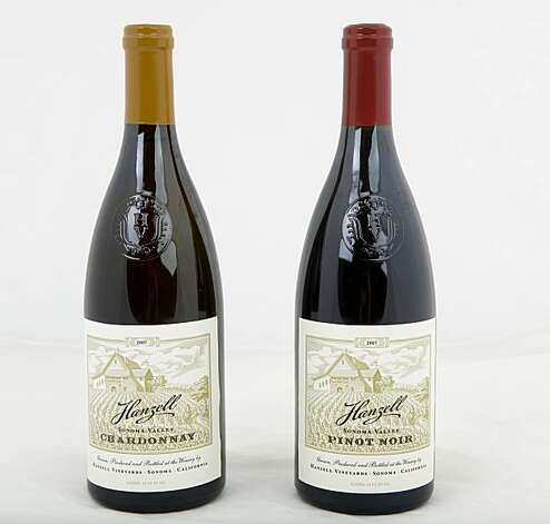 Bottles of Hanzell Winery's Chardonnay, left, and Pinot Noir, are seen on Monday, July 19, 2010 in San Francisco, Calif. Photo: Russell Yip, The Chronicle