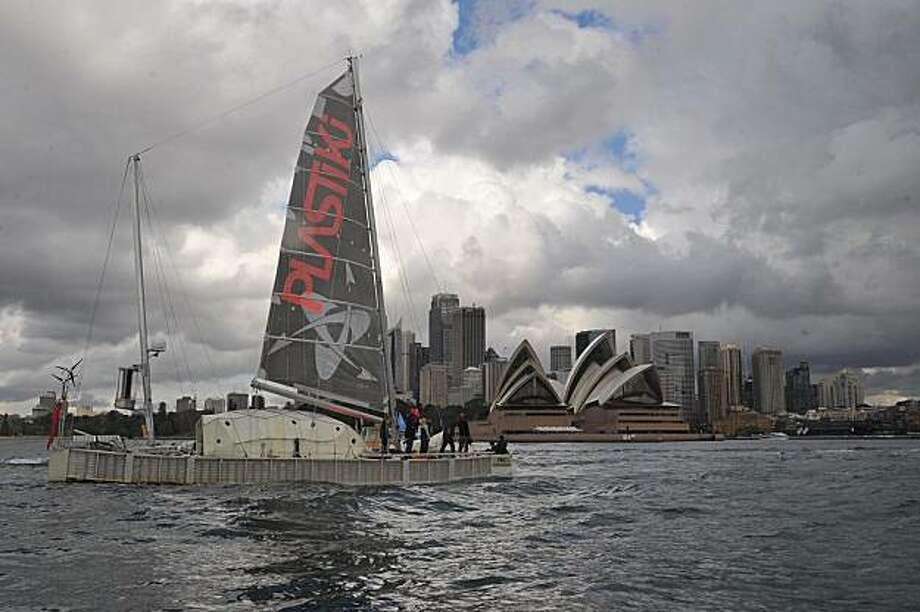 The Plastiki arriving in Sydney. Photo: Plastiki
