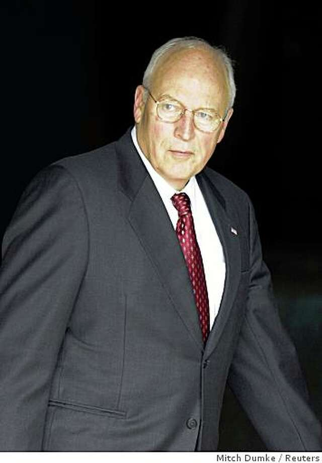 U.S. Vice President Dick Cheney leaves George Washington University Hospital after undergoing a procedure to correct an abnormal heartbeat in Washington, October 15, 2008. Cheney, who has a history of heart problems, on Wednesday was treated with an electric shock to address an abnormal heartbeat, his spokeswoman said, the second time in just under a year. REUTERS/Mitch Dumke      (UNITED STATES) REUTERS Photo: Mitch Dumke, Reuters