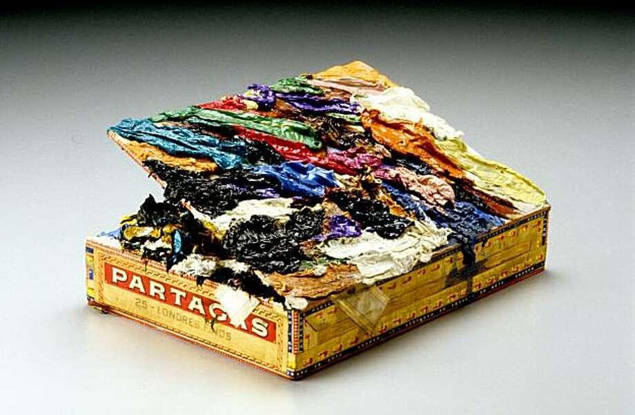 """Partagas Londres Finos #6"" (2001) paint on cigar box by Squeak Carnwath Photo: M. Lee Fatherree, Berkeley Art Center"