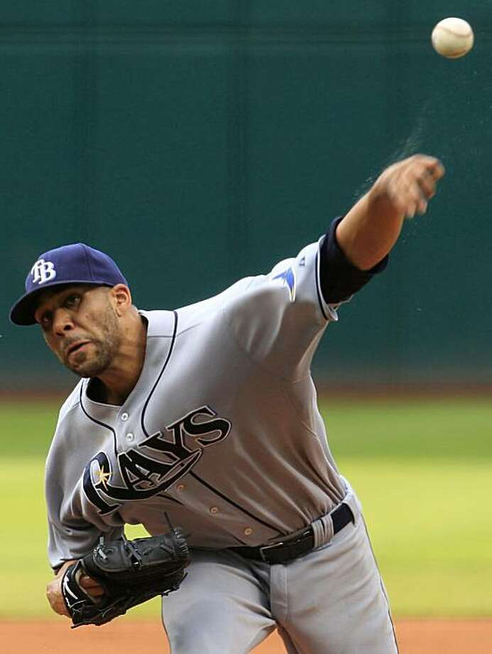 Tampa Bay Rays' David Price pitches in the first inning in a baseball game against the Cleveland Indians, Saturday, July 24, 2010, in Cleveland. Photo: Tony Dejak, AP