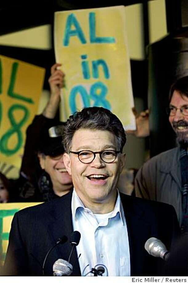 Comedian and political commentator Al Franken speaks with reporters after announcing his campaign to seek the 2008 Democratic nomination for U.S. Senator from Minnesota in Minneapolis, February 14, 2007. Franken Photo: Eric Miller, Reuters