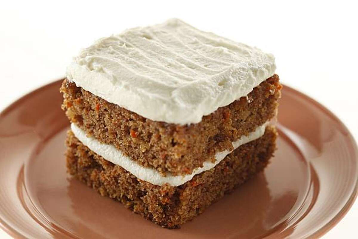 Whole Wheat Carrot Cake with Cream Cheese Frosting from Farallon restaurant in San Francisco, Calif., on June 30, 2010. Food styled by Britt Billmaier.