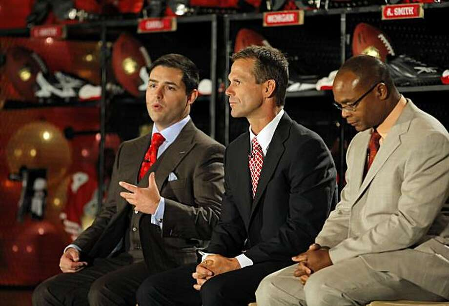 From left to right, Jed York, president and CEO of the 49ers, Trent Baalke, vice president of player personnel, and head coach Mike Singletary answer questions from fans and media at the Santa Clara Convention Center on Tuesday. Photo: Carlos Avila Gonzalez, The Chronicle