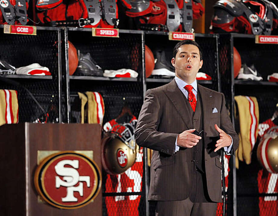 49ers President and CEO Jed York addresses the fans gathered at the Santa Clara Convention Center on Tuesday. Photo: Carlos Avila Gonzalez, The Chronicle