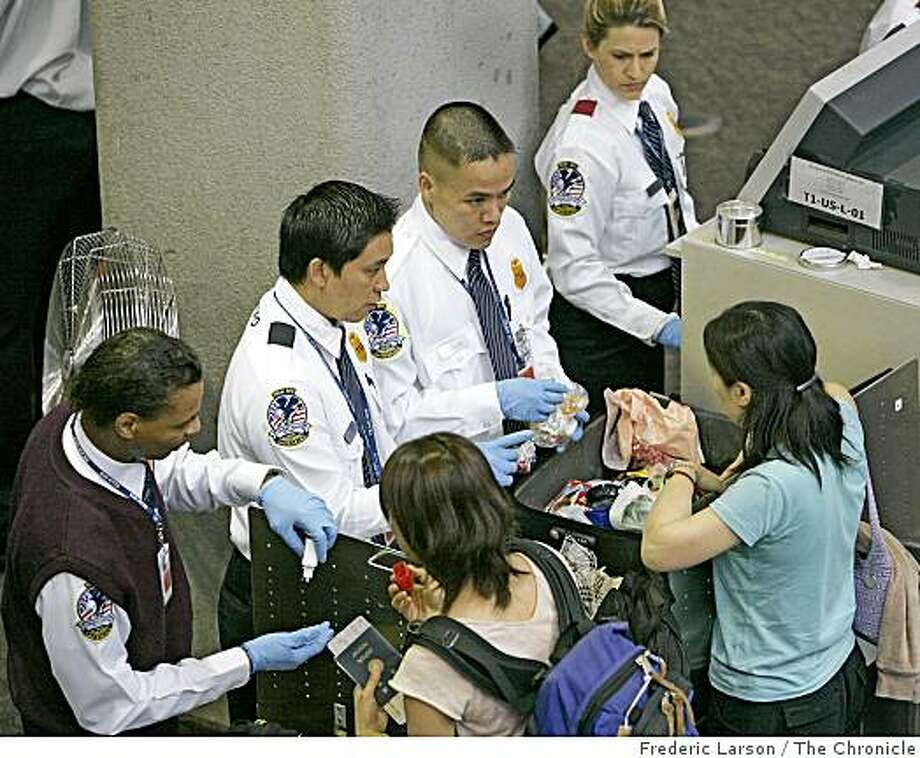 Checkpoint X-ray machines are being upgraded with advanced technology that can distinguish between liquid explosives and beverages, so the Transportation Security Administration is considering making changes some time in 2009 on the ban on liquids over 3 ounces. Photo: Frederic Larson, The Chronicle