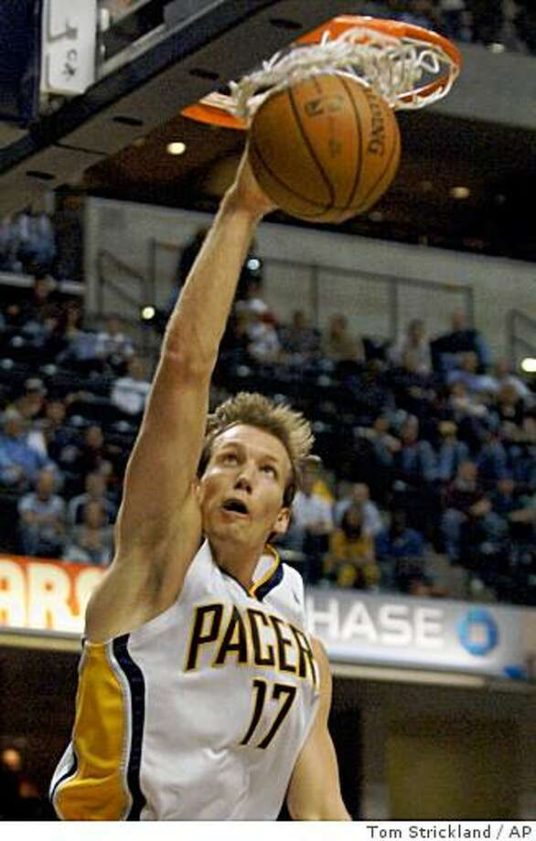 Indiana Pacers forward Mike Dunleavy dunks for two of his 34 points in the Pacers' 113-103 win over the New Jersey Nets, in the third quarter of a game in Indianapolis on Friday, Feb. 22, 2008. Photo: Tom Strickland, AP