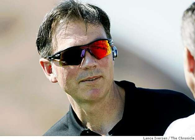Oakland Athletics' Billy Beane, Vice President, General Manager takes questions from the media during the teams first full team workout at Papago Park in Phoenix, Ariz. on Thursday, Feb. 21, 2008. Photo By Lance Iversen / San Francisco Chronicle Photo: Lance Iversen, The Chronicle