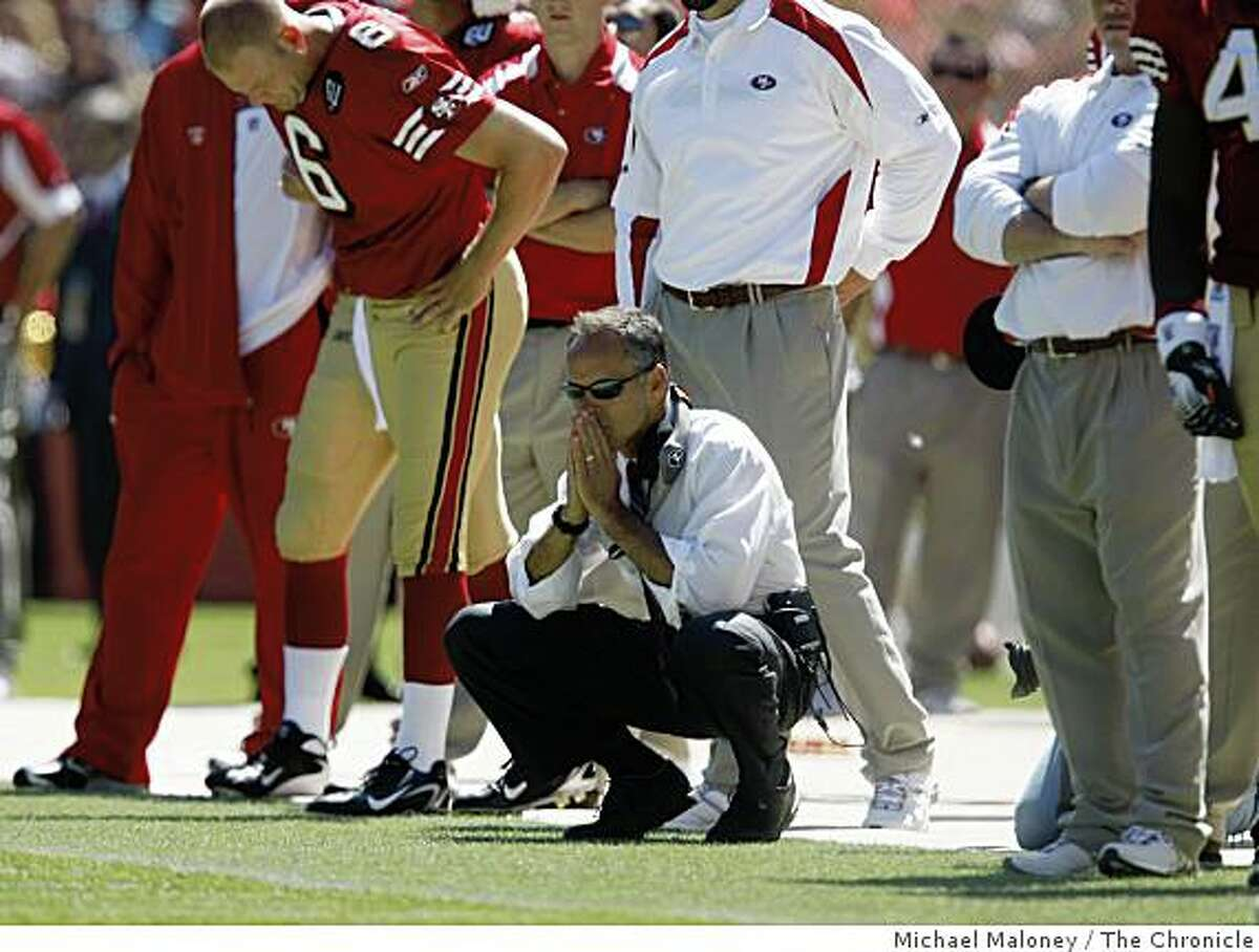 San Francisco 49ers head coach Mike Nolan watches from the sidelines.The San Francisco 49ers host the Arizona Cardinals in their NFL season opener at Candlestick Park in San Francisco, Calif., on Sept. 7, 2008. Arizona won 23-13.