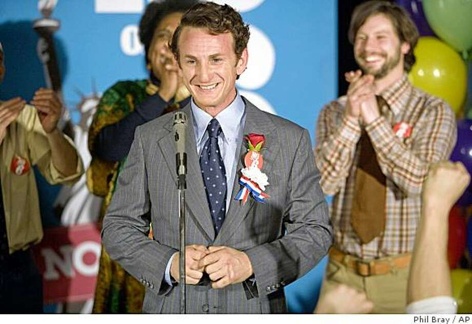 "In this image released by Focus Features, Sean Penn portrays gay rights activist Harvey Milk in a scene from in a scene from, ""Milk."" Photo: Phil Bray, AP"