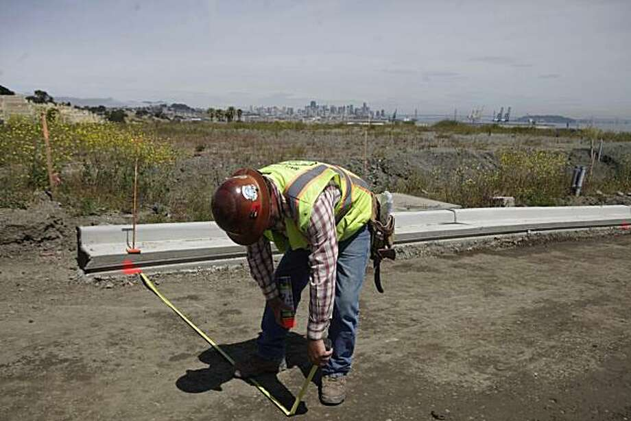 A worker works at the Hilltop community being developed on the Hunters Point Shipyard redevelopment project in San Francisco, Calif. on Wednesday June 2, 2010. Photo: Lea Suzuki, The Chronicle