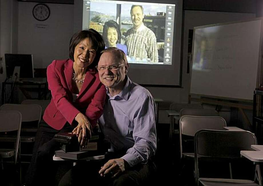 "Jan Yanehiro and Richard Hart, who spent more than a decade as the popular hosts of ""Evening Magazine,  now work together in the classroom in the multimedia communications department at the Academy of Art University, Wednesday July 14, 2010, in San Francisco, Calif. Photo: Lacy Atkins, The Chronicle"