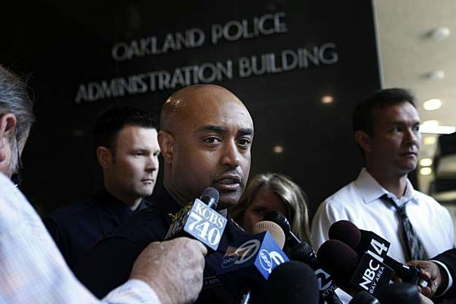 Discussing 80 pending layoffs of Oakland Police Officers set to start at midnight,Oakland Chief of Police, Anthony Batts talks with members of the press at police headquarters on Monday July 12, 2010 in Oakland, Calif. Photo: Mike Kepka, The Chronicle