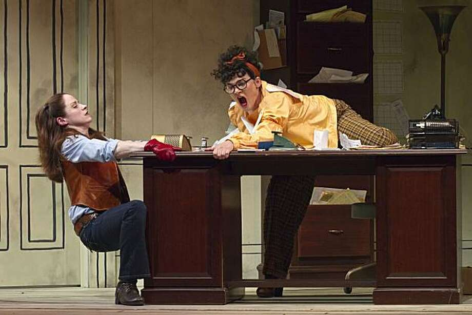 """Avery Ainsley (Heidi Kettenring, left) and sister  Annalee (Molly Anne Coogan) fight over their father's desk in Laura Schellhardt's """"Auctioning the Ainsleys"""" at TheatreWorks Photo: Tracy Martin"""