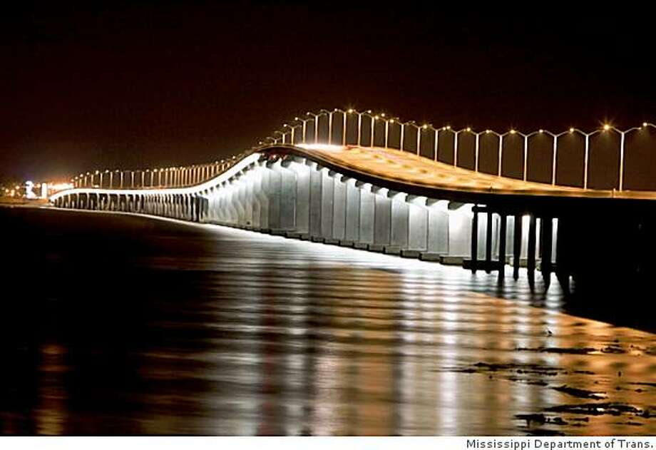 The $267 million Bay St. Louis Bridge opened in May of 2007, 21 months after its predecessor was damaged beyond repair by Hurricane Katrina Photo: Mississippi Department Of Trans.