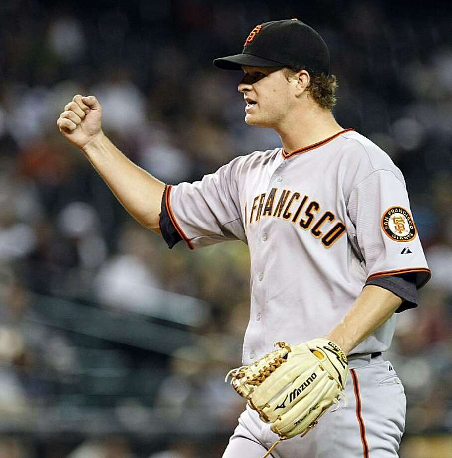 San Francisco Giants pitcher Matt Cain gestures to the home plate umpire, calling for the out, in the seventh inning against the Arizona Diamondbacks during a baseball game Thursday, July 22, 2010, in Phoenix. Photo: Rick Scuteri, AP