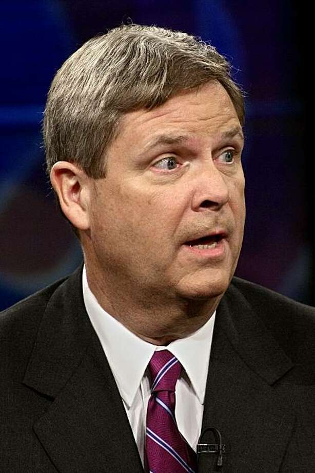 """In this Dec. 18, 2006 file photo, Iowa Gov. Tom Vilsack appears on """"The Daily Show with Jon Stewart"""" in New York City. The Obama administration is standing by its quick decision to oust a black Agriculture Department employee, Shirley Sherrod, on Tuesday July 20, 2010, over racially tinged remarks at an NAACP banquet in Georgia, despite evidence that her remarks were misconstrued and growing calls for USDA to reconsider. Agriculture Secretary Tom Vilsack, not the White House, made the decision to ask Sherrod to resign, said USDA spokeswoman Chris Mather. Photo: Adam Rountree, AP"""