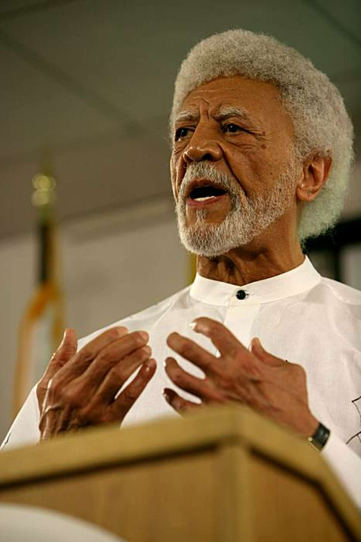 Mayor Dellums of Oakland addresses members of the press following the verdict of Johannes Mehserle at the Emergency Operations Center on Thursday, July 8, 2010 in Oakland, Calif.
