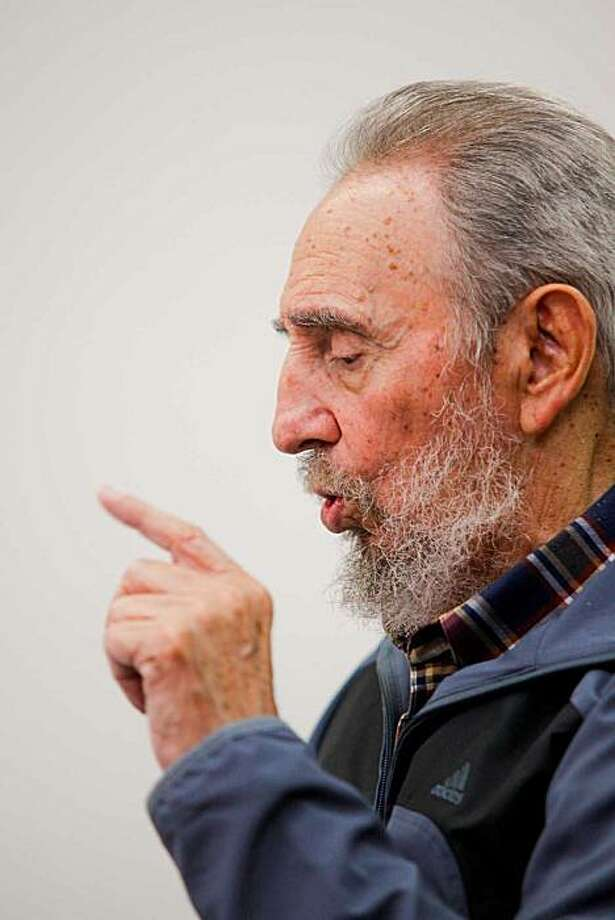 """In this photo released on Monday, July 12, 2010 by the state media Cubadebate website, Cuban leader Fidel Castro speaks during an interview with Cubavision in Havana, during the """"Mesa Redonda"""" or """"Round Table"""", a daily Cuban talk show on current events. Photo: AP"""
