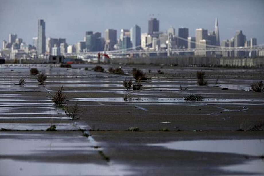The northern tip of Alameda Point, shown filled with weeds and cracks on Wednesday January 20, 2010 in Alameda, Calif., is just one of many undeveloped spaces on the former Naval Base. Alameda's Measure B has brought an ongoing debate about development in area  to a head. Photo: Mike Kepka, The Chronicle