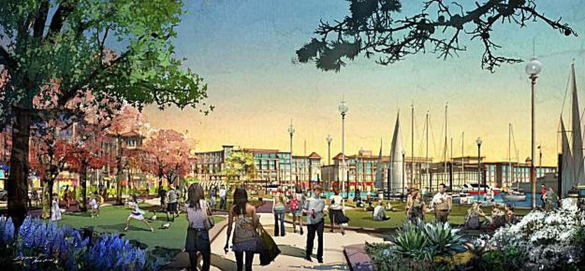 Artists' renderings of SunCal's vision for Alameda Point SunCal hopes to build 4,800 homes, parks, offices and a ferry terminal at Alameda Point
