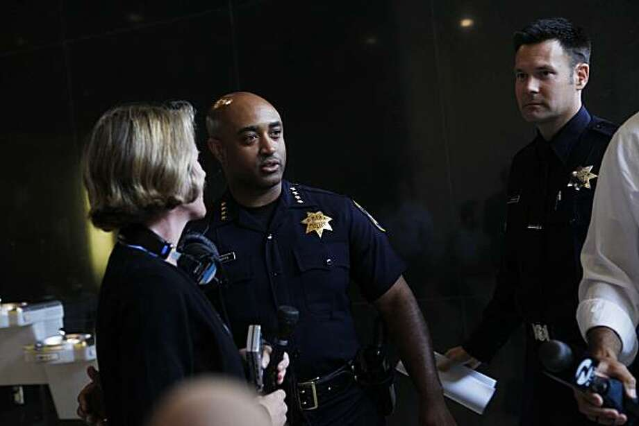 Discussing 80 pending layoffs of Oakland Police Officers set to start at midnight,Oakland Chief of Police, Anthony Batts meets with members of the press at police headquarters on Monday July 12, 2010 in Oakland, Calif. Photo: Mike Kepka, The Chronicle