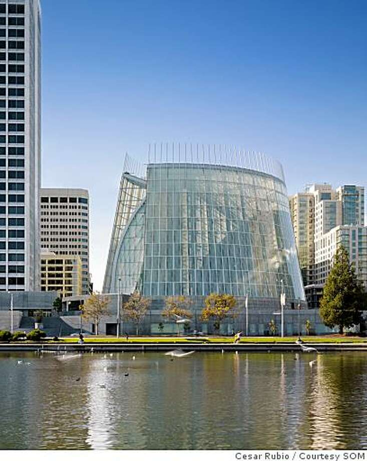 Oakland Diocese's new Cathedral of Christ theLight by Skidmore Owings and Merrill. The lead architect was Craig Hartman. The cylindrical cathedral has an outer cylinder of glass and a ametal and wood armature within that shell. Photo: Cesar Rubio, Courtesy SOM