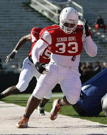 Lamarr Houston during practice for the 2010 Under Armour Senior Bowl at Ladd Peebles Stadium in Mobile, Alabama on January 27, 2010. (AP Photo/Ben Liebenberg) Photo: Ben Liebenberg, AP