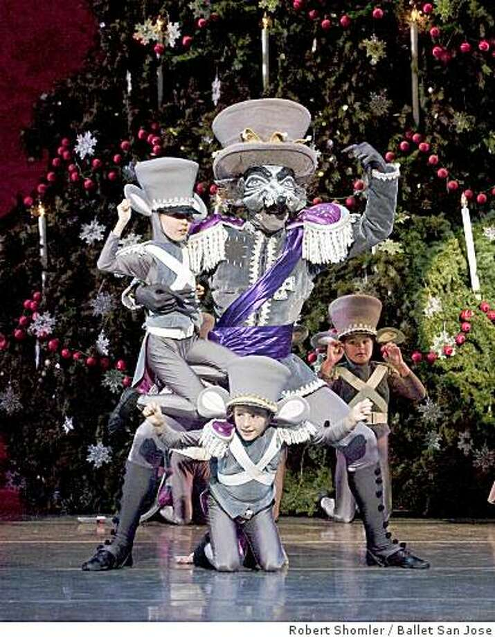Willie Anderson (as the Mouse King) with just a few of his Mice Army in Dennis Nahat's THE NUTCRACKER. Photo: Robert Shomler, Ballet San Jose