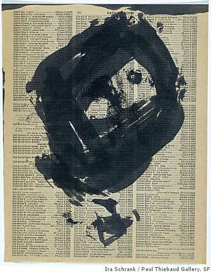 Untitled study (1950s) ink on telephone book page by Franz Kline. An 'abandoned' drawing given by Kline to Wayne Thiebaud. Photo: Ira Schrank, Paul Thiebaud Gallery, SF