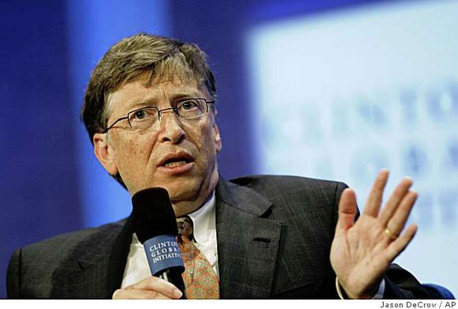 Microsoft Chairman and former CEO Bill Gates speaks during the Clinton Global Initiative annual meeting Wednesday, Sept. 24, 2008 in New York.  (AP Photo/Jason DeCrow) Photo: Jason DeCrow, AP