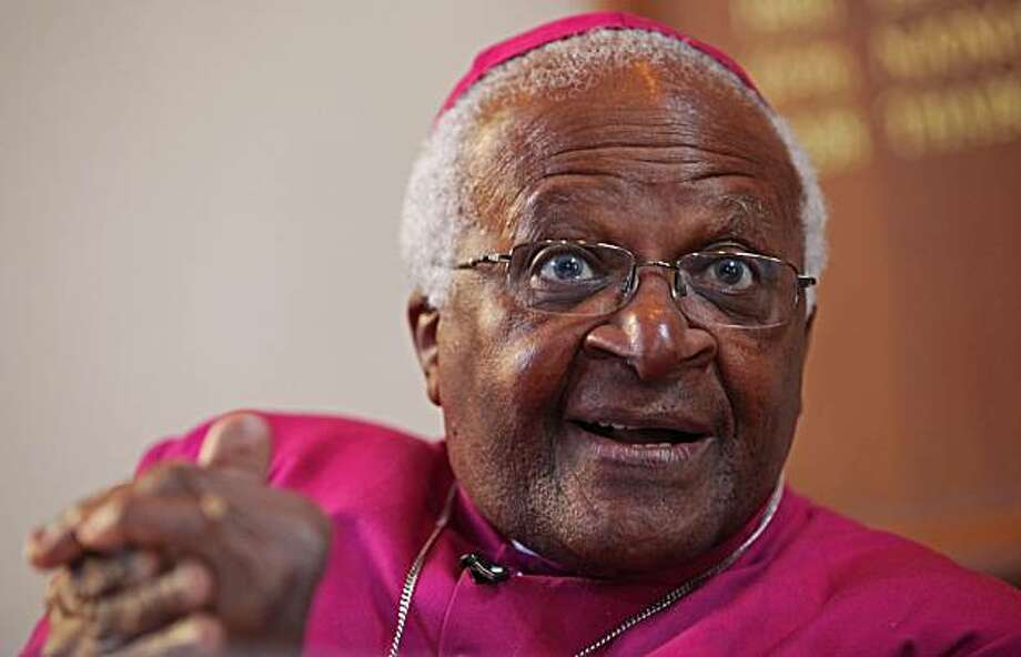 "Nobel peace laureate Desmond Tutu talk during a press conference in Cape Town, South Africa, Thursday, July 22, 2010.  Nobel peace laureate Desmond Tutu announced Thursday he is retiring from public life later this year when he turns 79, saying ""the timehas come to slow down"" and spend more time with his family. The former Anglican archbishop of Cape Town said after his birthday on Oct. 7 he will limit his time in the office to one day per week until February 2011. Photo: Stringer, AP"