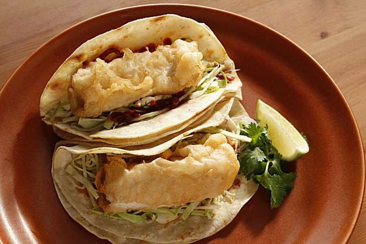 Baja-Style Tacos from Nick's Tacos in San Francisco, Calif., on July 21, 2010. Food styled by Natalie Knight.