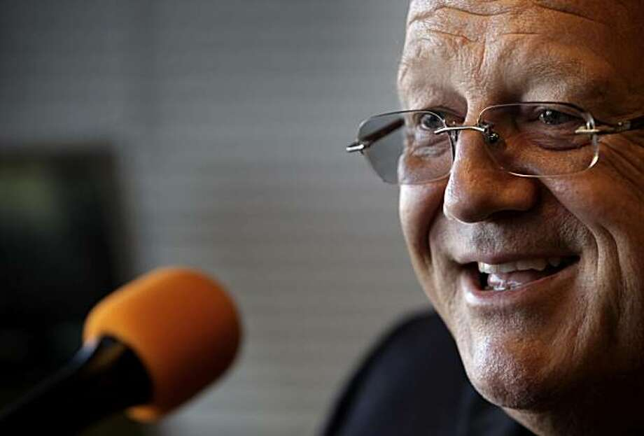 Jon Miller,  will be honored by the Baseball Hall of Fame on July 25th as the recipient of the Ford C. Frick Award. Miller is seen here in the booth before his broadcast at AT&T Park on Thursday, July 15, 2010, as the Giants played the Mets. Photo: Carlos Avila Gonzalez, The Chronicle