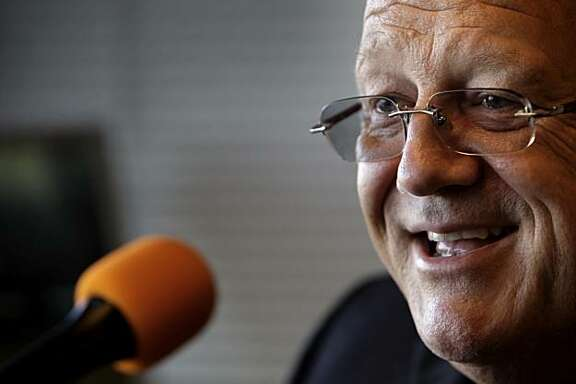 Jon Miller,  will be honored by the Baseball Hall of Fame on July 25th as the recipient of the Ford C. Frick Award. Miller is seen here in the booth before his broadcast at AT&T Park on Thursday, July 15, 2010, as the Giants played the Mets.